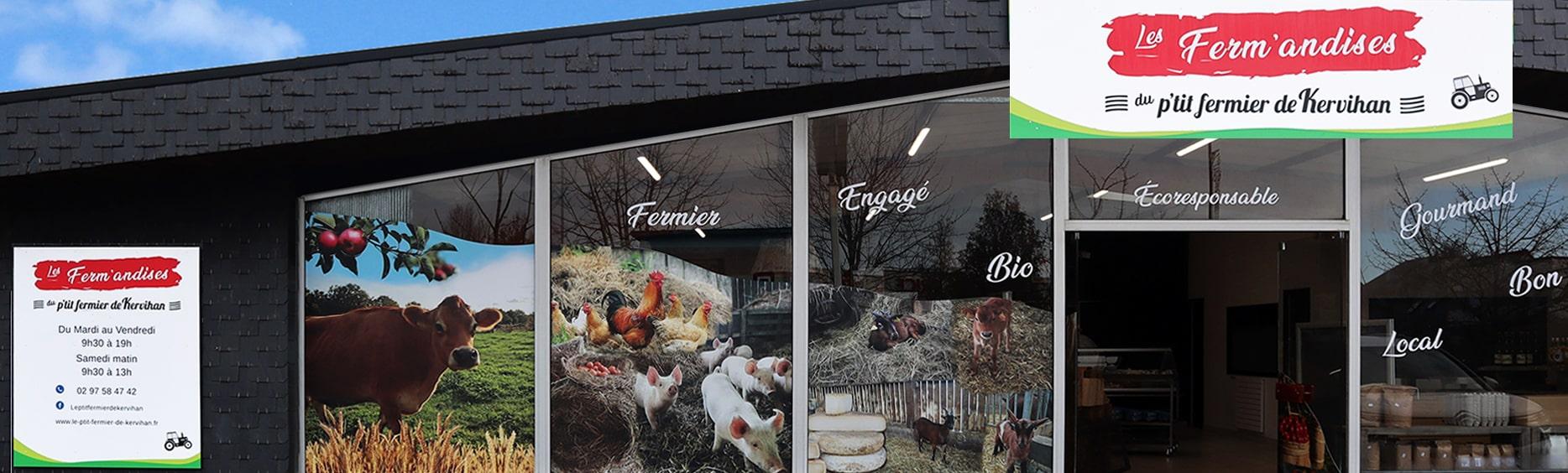 Boutique les Ferm'andises à Auray 56 Morbihan, produits de la ferme et producteurs locaux